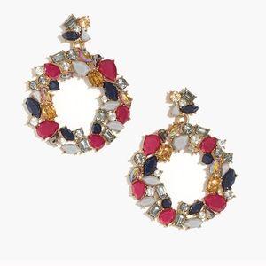 NWT J. Crew Elegant Gemstone Wreath Earrings